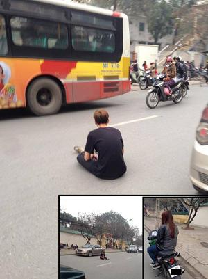 Giận dỗi bạn gái, chàng trai ngồi bệt ra đường, chờ...oto đâm